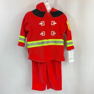 Red Carters Baby Boys Size 3-6 Months Zip Up Fireman Jacket w//Hood